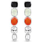10.22 Carat Genuine Multi Stone .925 Sterling Silver Earrings