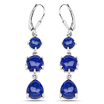 10.98 Carat Genuine Lapis .925 Sterling Silver Earrings