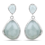 10.17 Carat Genuine Aquamarine .925 Sterling Silver Earrings