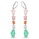 8.78 Carat Genuine Multi Stone .925 Sterling Silver Earrings