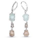 8.30 Carat Genuine Smoky Quartz, Labradorite and Aquamarine .925 Sterling Silver Earrings