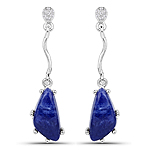 3.75 Carat Genuine Blue Aventurine and White Topaz .925 Sterling Silver Earrings