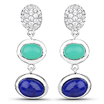 5.21 Carat Genuine Crysopharse, Lapis and White Topaz .925 Sterling Silver Earrings