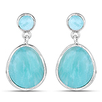 6.39 Carat Genuine Amazonite .925 Sterling Silver Earrings