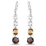 6.28 Carat Genuine Crystal Quartz, Champagne Quartz and Smoky Quartz .925 Sterling Silver Earrings