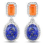 5.22 Carat Genuine Carnelian and Lapis .925 Sterling Silver Earrings