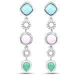 7.07 Carat Genuine Multi Stone .925 Sterling Silver Earrings