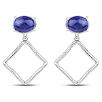 1.89 Carat Genuine Blue Aventurine .925 Sterling Silver Earrings