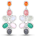 11.54 Carat Genuine Multi Stone .925 Sterling Silver Earrings
