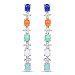 4.40 Carat Genuine Multi Stone .925 Sterling Silver Earrings