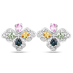 1.67 Carat Genuine Multi Sapphire and White Zircon .925 Sterling Silver Earrings