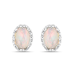 0.54 Carat Genuine Ethiopian Opal .925 Sterling Silver Earrings