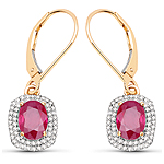 2.26 Carat Genuine Ruby and White Diamond 14K Yellow Gold Earrings