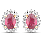 1.22 Carat Genuine Ruby and White Diamond 14K Yellow Gold Earrings