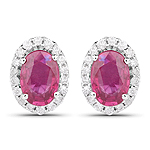 1.29 Carat Genuine Ruby and White Diamond 14K White Gold Earrings