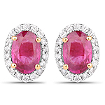 1.29 Carat Genuine Ruby and White Diamond 14K Yellow Gold Earrings