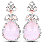14K Rose Gold Plated 20.80 Carat Genuine Rose Quartz and White Topaz .925 Sterling Silver Earrings