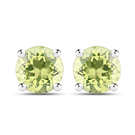 1.60 Carat Genuine Peridot .925 Sterling Silver Earrings