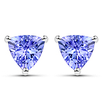 1.18 Carat Genuine Tanzanite .925 Sterling Silver Earrings