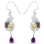 3.82 Carat Genuine Multi Stones .925 Sterling Silver Earrings
