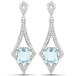 5.67 Carat Genuine Aquamarine and White Diamond 14K White Gold Earrings
