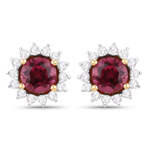 1.24 Carat Genuine Rubellite and White Diamond 14K Yellow Gold Earrings
