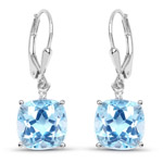 8.83 Carat Genuine Blue Topaz and White Topaz .925 Sterling Silver Earrings