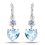 """8.63 Carat Genuine Blue Topaz, Tanzanite and White Topaz .925 Sterling Silver Earrings"""