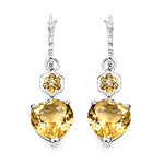 6.38 Carat Genuine Citrine & White Topaz .925 Streling Silver Earrings