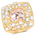 14K Yellow Gold Plated 3.33 Carat Synthartic Morganite and White Topaz .925 Sterling Silver Ring