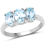 1.97 Carat Genuine Blue Topaz .925 Sterling Silver Ring