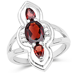 1.80 Carat Genuine Garnet and White Diamond .925 Sterling Silver Ring