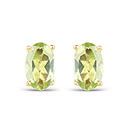 0.46 Carat Genuine Peridot 10K Yellow Gold Earrings