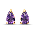 0.38 Carat Genuine Amethyst 10K Yellow Gold Earrings