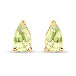 0.44 Carat Genuine Peridot 10K Yellow Gold Earrings