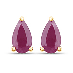 0.50 Carat Genuine Ruby 10K Yellow Gold Earrings