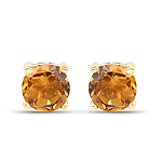 0.46 Carat Genuine Citrine 10K Yellow Gold Earrings