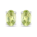 0.96 Carat Genuine Peridot .925 Sterling Silver Earrings