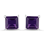 2.25 Carat Genuine Amethyst .925 Streling Silver Earrings