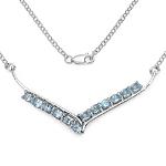 5.00 Carat Genuine Blue Topaz .925 Streling Silver Necklace