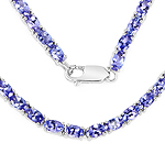 21.50 Carat Genuine Tanzanite .925 Sterling Silver Necklace
