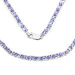 20.64 Carat Genuine Tanzanite .925 Sterling Silver Necklace