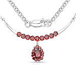 3.50 Carat Genuine Garnet .925 Sterling Silver Necklace