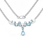 3.57 Carat Genuine Blue Topaz .925 Sterling Silver Necklace