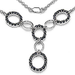 3.00 Carat Genuine Black Sapphire .925 Sterling Silver Necklace