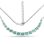 4.09 Carat Genuine Emerald and White Diamond .925 Sterling Silver Necklace