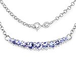 2.49 Carat Genuine Tanzanite and White Diamond .925 Sterling Silver Necklace