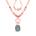 14K Rose Gold Plated 92.39 Carat Genuine Milky Aquamarine & Pink Opal .925 Sterling Silver Necklace