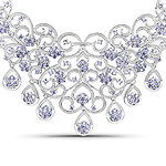 28.33 Carat Genuine Tanzanite and White Diamond .925 Sterling Silver Necklace