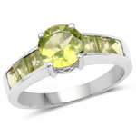 2.25 Carat Genuine Peridot .925 Sterling Silver Ring
